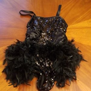 Weissman MA black sequin feather dance costume C2